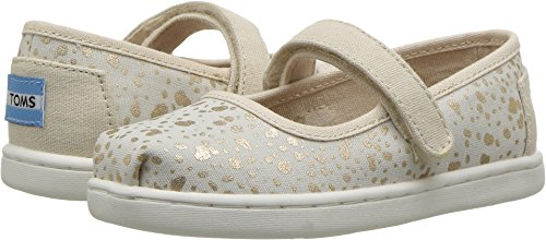 Toms Tiny Mary Jane Canvas Printed Flat, Size: 10 M US Toddler, Color: Gold Foil Snow Spots