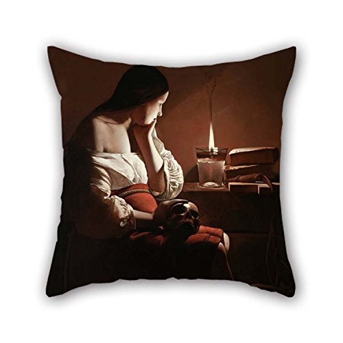 Oil Painting Georges De La Tour - The Magdalen With The Smoking Flame Cushion Covers 16 X 16 Inches / 40 By 40 Cm Best Choice For Drawing Room Festival Dining Room Home Bf Chair With Each Side