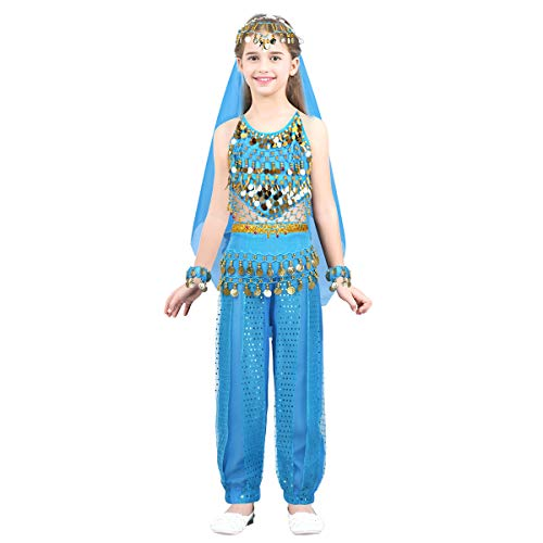 Alvivi Girls India Belly Dance Costumes Arabian Princess Dress up Outfit Halter Top Harem Pants Hip Scarf 6 Pcs Set Light Blue 8-10