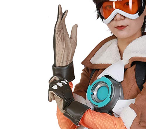 OW Tracer Cosplay Costume Accessories Brown Luxury PU Leather Gloves Game Cosplay Props for Mens/Teens (US Medium, Brown)