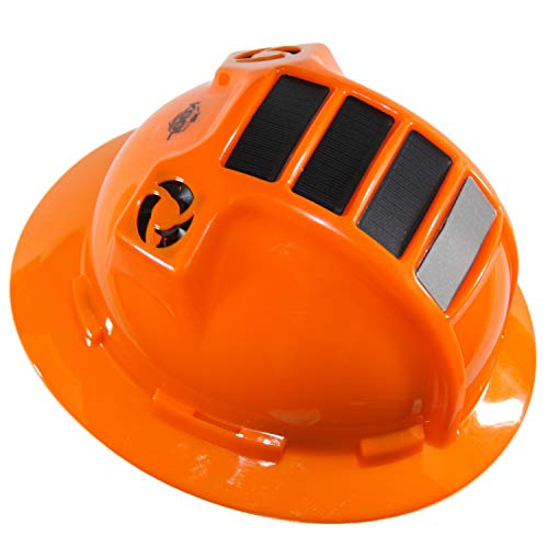 Hard Hat Head Protection Kool Breeze Solar Helmet With Rechargeable Battery and Adjustable Ratchet Suspension (Orange) ()