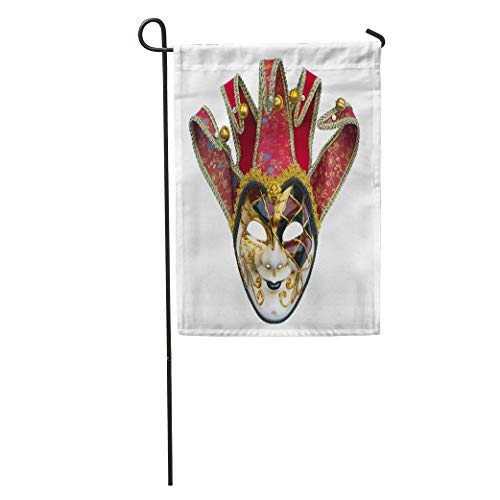 Nick Thoreaufhed Garden Flag Venetian Joker Mask Bells Carnival Costume Disguise Face Gold Golden Home Yard House Decor Barnner Outdoor Stand 12x18 Inches Flag