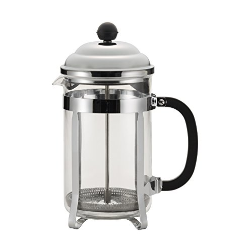 BonJour Coffee Stainless Steel French Press with Glass Carafe, 50.7-Ounce, Bijoux, Black Handle by BonJour