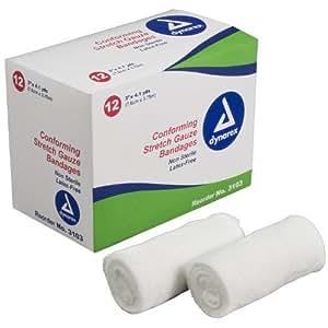 "Dynarex Stretch Gauze Bandage Roll, Non-Sterile, 3"", Box/12"