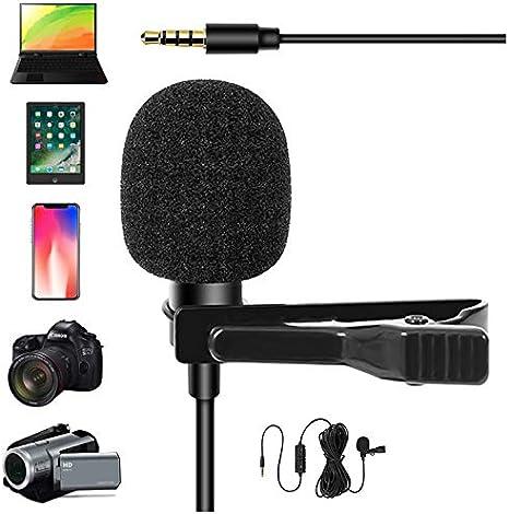 YC-VM20 Micrófono de Condensador Lavalier de 3,5 mm, para Smartphones, DSLR, videocámaras, PC, etc. en entrevistas de Noticias, grabación de vídeo: Amazon.es: Electrónica
