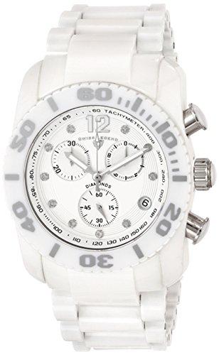 Swiss Legend Men's 10127-WSD Chronograph Diamond-Accented White Ceramic Watch