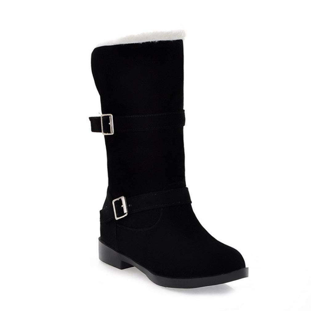 Hy Damen Stiefel Winter Wildleder Plus Cashmere Warm Schnee Stiefel Stiefel/Damen Gürtelschnalle Slip-Ons Stiefelies/Ski Schuhe Wanderschuhe (Farbe : C, Größe : 36)