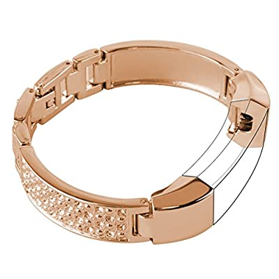 For Fitbit Alta Bands Small Silver Rose Gold Fitbit Alta hr Metal, Wearlizer Stainless Steel Replacement Bands Accessories Straps Bracelet Bangle Wrist Bands Women Small/Large