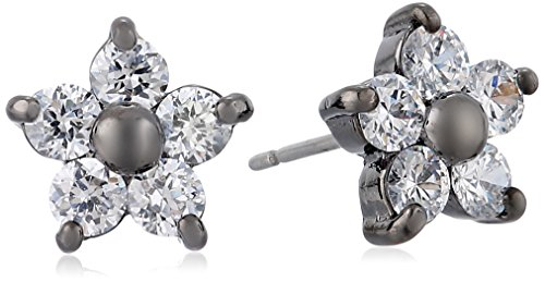 (Betsey Johnson Crystal and Hematite-Color Star Flower Stud Earrings )