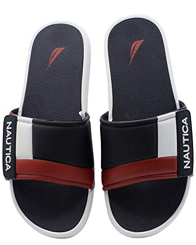 - Nautica Men's Bower Athletic Slide, Adjustable Straps Comfort Sandal-Navy/White/Red-12