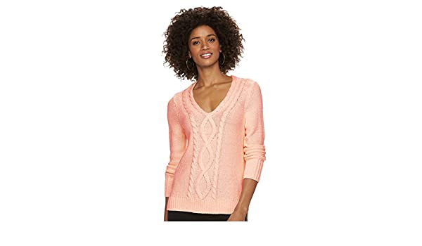 Chaps Women's Cable-Knit V-neck Long Sleeve Sweater at Amazon ...
