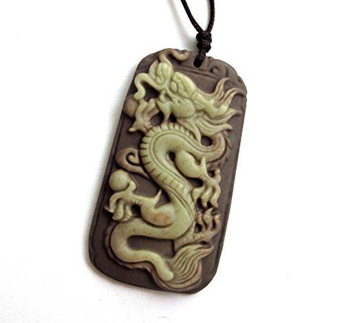 Green Purple Natural Stone Long Dragon Amulet Pendant