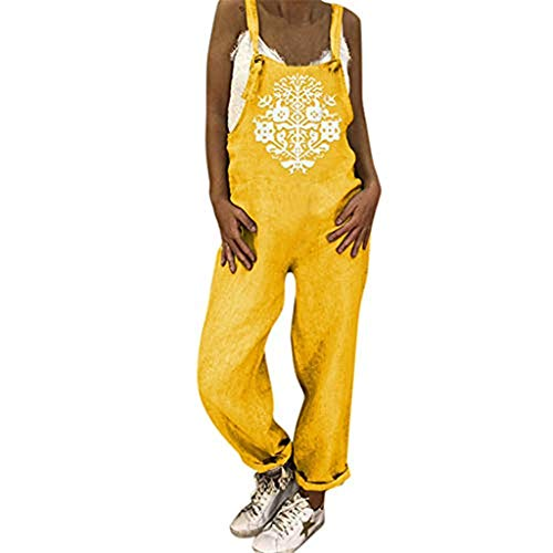 Xinantime Women's Printed Holiday Jumpsuit Solid Color Holiday Casual Beach Jumpsuit Yellow