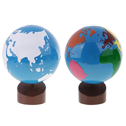 Land Gift Set - MonkeyJack Montessori Wooden Educational Toys Globe of World Parts with Land&Water Globe Set for Kids Gift
