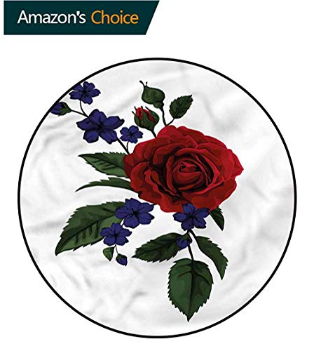 (RUGSMAT Rose Round Area Rug Reversible Floor Carpet,Rosebud Little Blossom Lifts Basket Swivel Chair Pad Coffee Table Rug Diameter-51)