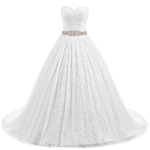 Beautyprom Women's Ball Gown Lace Bridal Wedding Dresses (White-Train, US22)