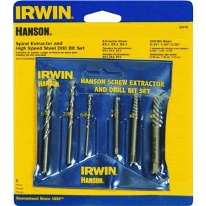 6 Piece Spiral Screw Extractor and Drill Bit Set 53700