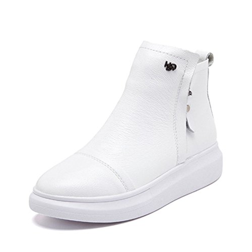 Height GIY Fashion Casual Top Women Shoes Bootie Sneaker High Platform Wedge Increased White rq0Fwrg