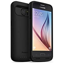 PowerBear® Samsung Galaxy S6 Extended Rechargeable Battery Case - 3500mAh High Capacity Battery (Up to 135% Extra Battery) - Black [24 Month Warranty & Screen Protector Included]