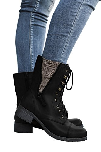 Fisace Mujeres Winter Round Toe Militar Lace Up Knit Tobillo Cuff Low Heel Combat Botas Marten Bota Leather Bota Black