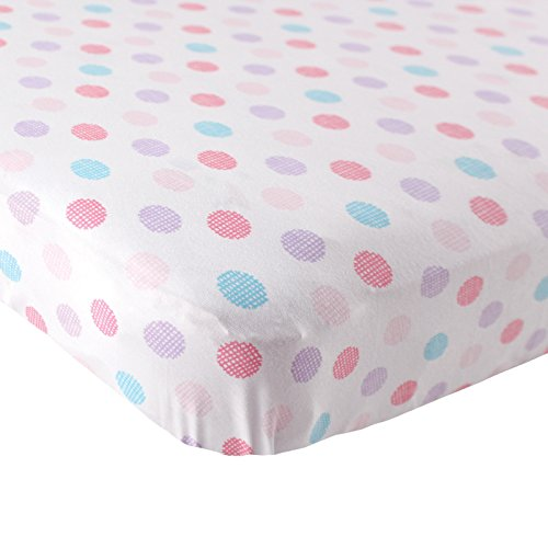 Luvable Friends Fitted Knit Cotton Crib Sheet Crosshatch Dot, (Dots Pink Crib)