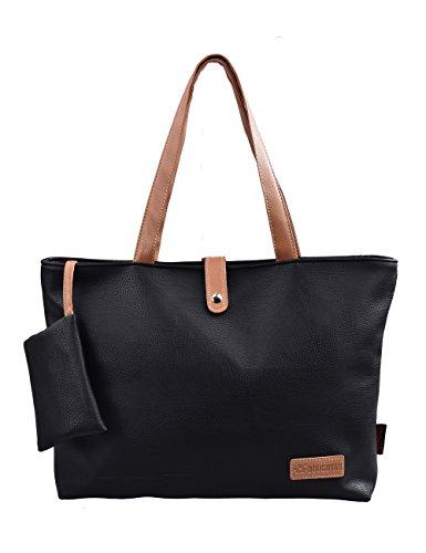 Douguyan Fashion Kunstleder Groß Einkaufstasche Uni Shopper Tote Tasche Jungen Damen Handtasche Schultertasche Reisetasche E00251Schwarz