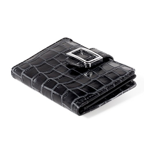 ID Stronghold RFID Wallet Leather Croco Mini Trifold for Women w/ Best Protection