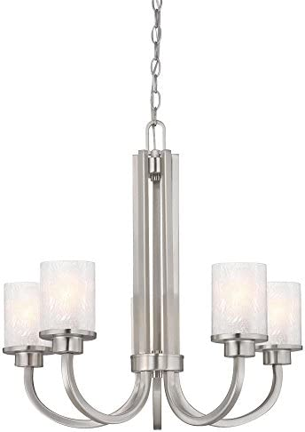 Westinghouse Lighting 6308000 Ramsgate Five-Light Indoor Chandelier, Brushed Nickel Finish with Ice Glass