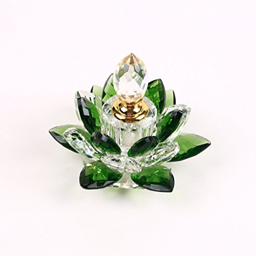 Crystal Glass Perfume bottle Lotus Flower Figurines Miniatures Decoration For Home Decor Presents-refillable perfume bottle