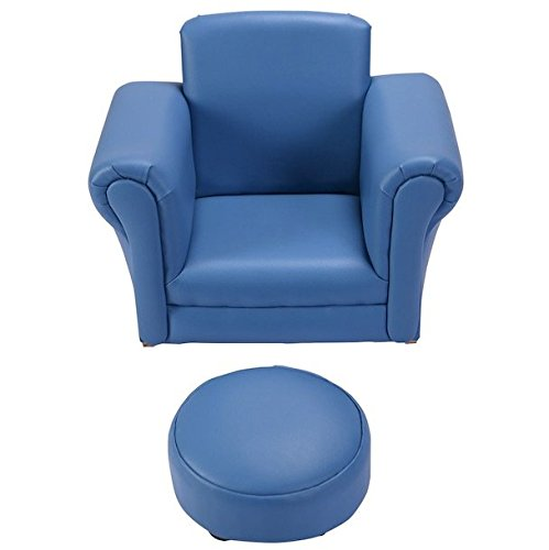 Blue Kids Sofa With Footstool Armrest Chair Couch Portable Lightweight Easy To Move Around Kids Children Toddler Birthday Present Gift Home Living Room Space Saving Furniture Comfortable Material