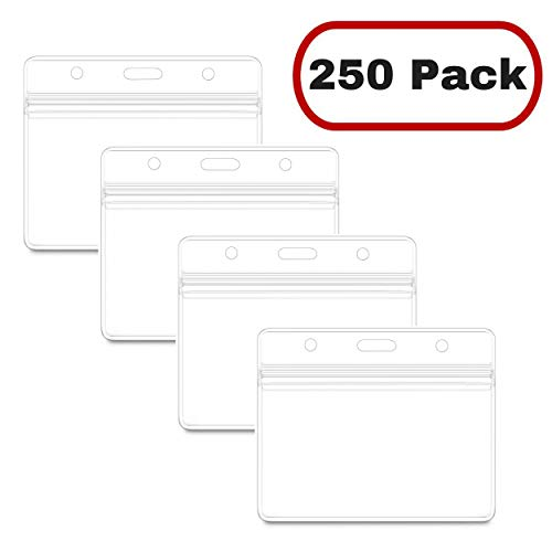 Mata1 Plastic Card Holder, Horizontal Badge Holder for ID Name Badge with Zipper (Clear, 2.25 x 3.5 inch, 250 Pack)