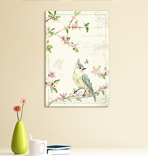 Vintage Style Bird Standing on Blooming Tree Branch