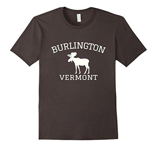 Mens Burlington Vermont T-shirt - Moose Large Asphalt