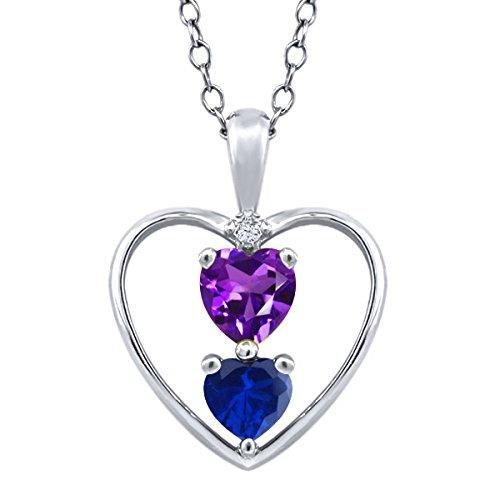 0.84 Ct Purple Amethyst Blue Simulated Sapphire 925 Silver Pendant With 18 Inch Chain - Purple Sapphire Pendant