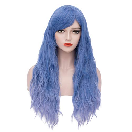 ELIM Blue Wigs for Women Long Fluffy Wavy Colored Wig Pastel Color Hair Cosplay Wigs for Girls with Wig Cap Z152E