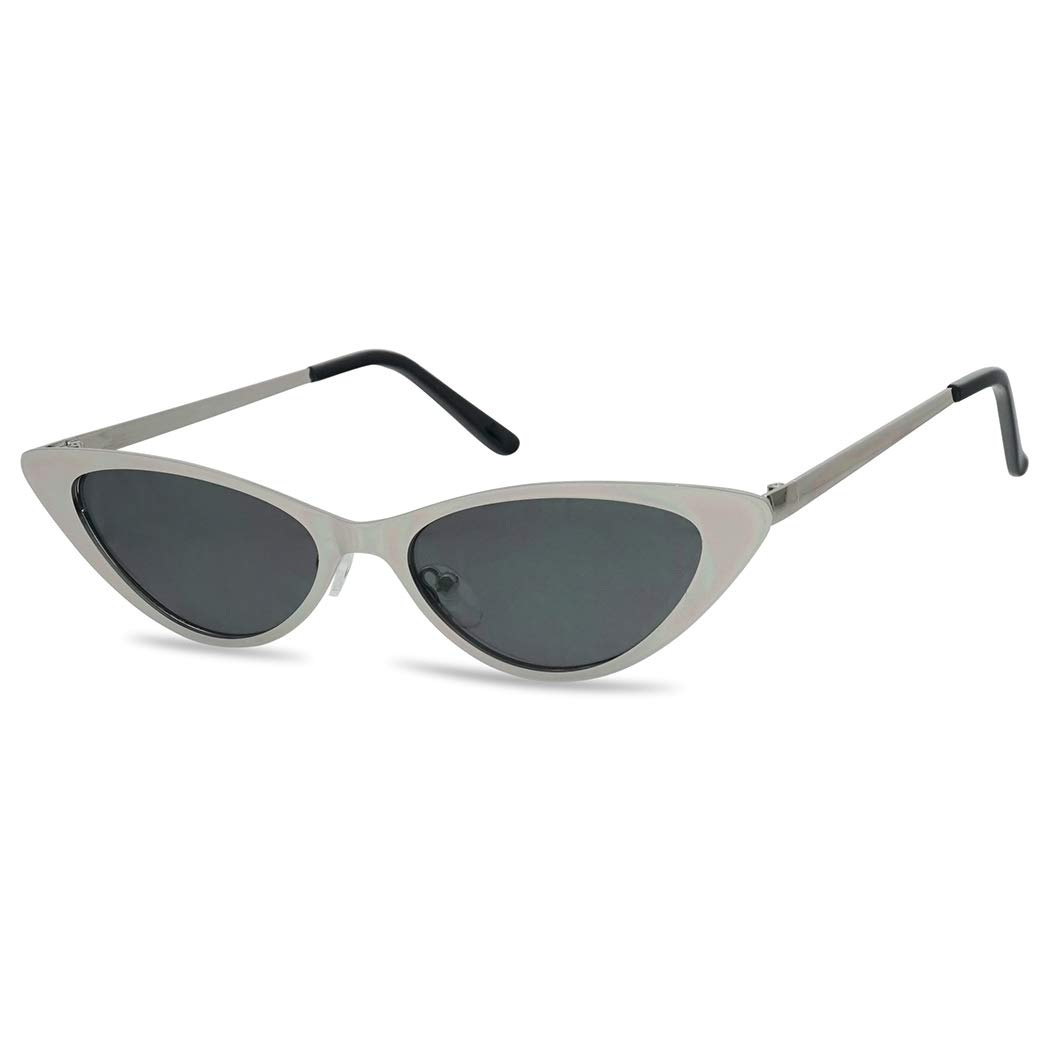 SunglassUP Sexy 90's Vintage Flat Metal Oval Streamlined Cat Eye Sunglasses (Silver Frame | Black) by SunglassUP