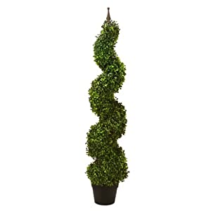 """Arcadia Silk Plantation TWO Pre-potted 47"""" Artificial Outdoor Indoor Spiral Boxwood Artificial Topiary Trees. In Plastic Pot 2"""