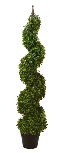 "TWO Pre-potted 47"" Artificial Outdoor Indoor Spiral Boxwood Artificial Topiary Trees. In Plastic Pot"