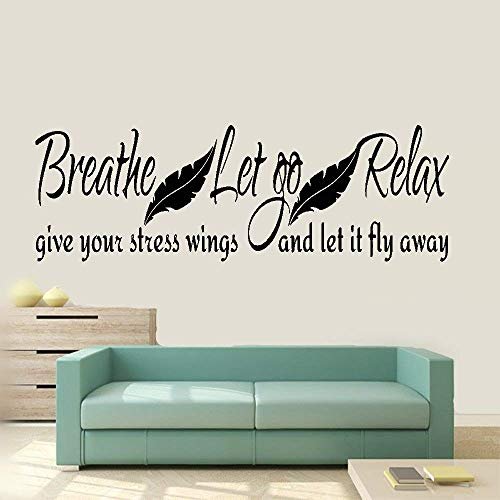 Bluegiants Vinyl Peel and Stick Mural Removable Wall Sticker Decals for Room Home Breathe Let Go Relax Give Your Stress Wings and Let It Fly Away for Living Room Bedroom -