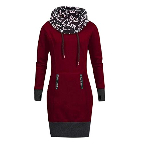 Hunauoo Casual Dress Women Letter Print Long Sleeve Bow Collar Hooded Dress Plus Size Wine