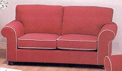 Amazon.com: Red Fabric Sofa / Couch with White Piping Accents ...