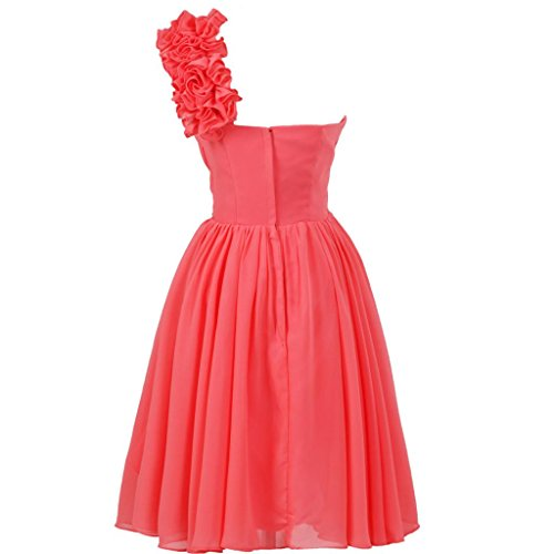JAEDEN Women's One Shoulder Short Bridesmaid Dresses Mini Evening Prom Dress Pink US8