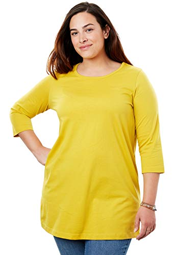 - Woman Within Women's Plus Size Perfect Scoop Neck Three-Quarter Sleeve Tunic - Golden Mustard, 3X