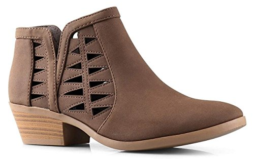 SODA Women's Perforated Cut Out Stacked Block Heel Ankle Booties Light Brown Dist (7)