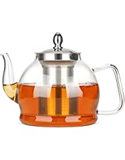 ComSaf 1200 ml szklany dzbanek do herbaty ze zdejmowanym zaparzaczem, bezpieczny na płycie kuchennej dzbanek do herbaty z sitkiem ze stali nierdzewnej i pokrywką, szkło borokrzemowe zaparzacz do herbaty z filtrem do kwitnących i luźnych liści, przezroczysty