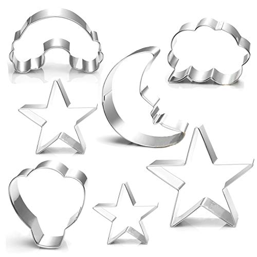 WOTOY Rainbow, Hot air Balloon, White Clouds, Moon, Stars Biscuit Cookie Cutter 7 Piece Set - Stianless Steel (Sun Cookie Moon Star Cutter)