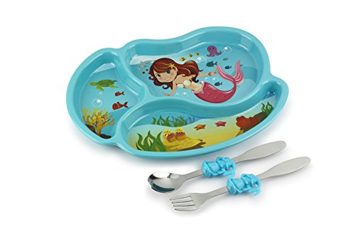 KidsFunwares Me Time Meal Set (Mermaid) – 3-Piece Set for Kids and Toddlers – Plate, Fork and Spoon that Children Love - Sparks your Child's Imagination and Teaches Portion Control - 3 Dinnerware Piece Set Child