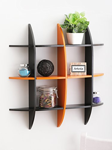 Artesia Black Orange Decorative Wooden Wall Shelf