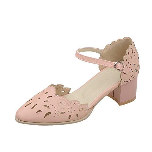 Carolbar Femmes Boucle Douce Mode Élégance Robe Bout Pointu Chunky Mi-talon Mary Janes Sandales Chaussures Rose