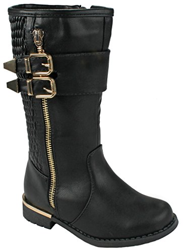 J.J.F Shoes Kids Girls Ginger Black Leatherette Dual Buckle Zipper Quilted Mid Calf Motorcycle Boots-2
